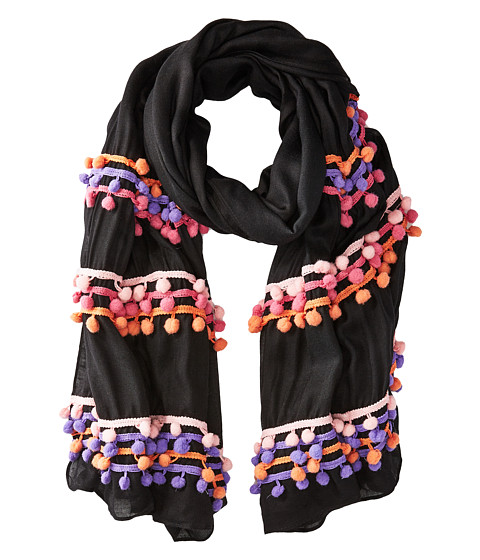 Bindya Three Layer Pom Pom Scarf - Black/Pink