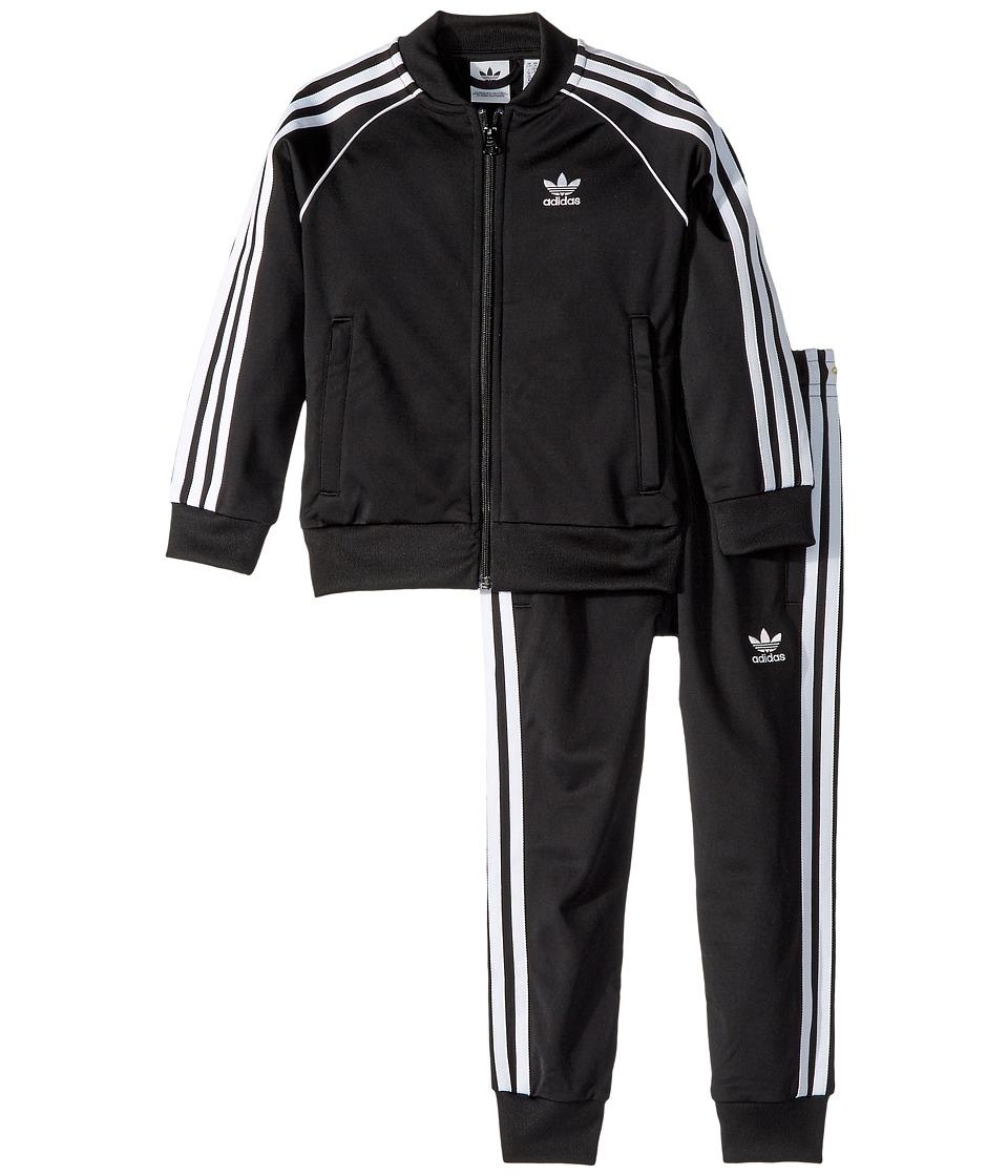 adidas Originals Kids - Superstar 3-Stripes Tracksuit (Toddler/Big Kids) (Black) Kids Active Sets