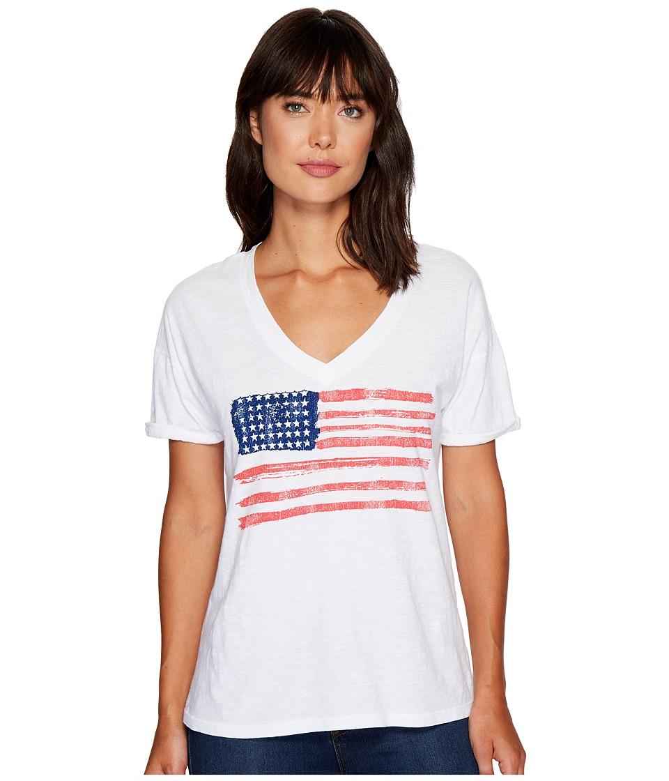 The Original Retro Brand - Painted American Flag V-Neck Slub Tee