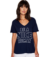 The Original Retro Brand - Be A Nice Human Rolled Sleeve Slub V-Neck
