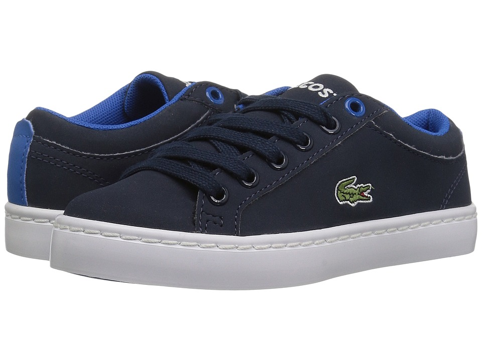 Lacoste Kids Straightset Lace 417 1 (Little Kid) (Navy) Kid's Shoes
