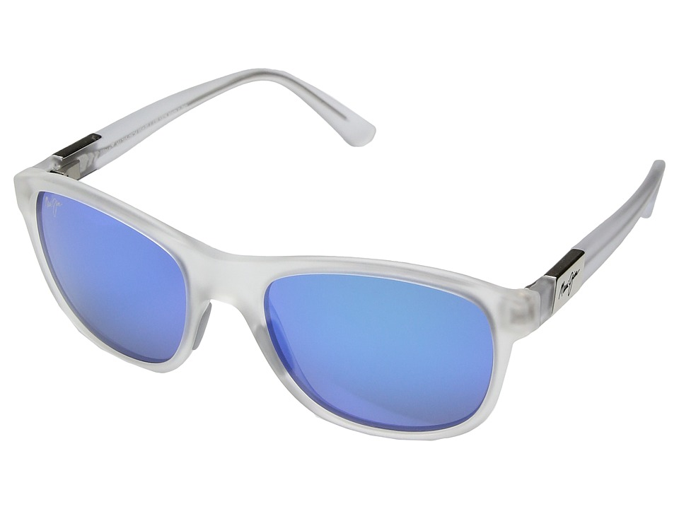Maui Jim - Wakea (Frosted Crystal/Blue Hawaii) Athletic Performance Sport Sunglasses