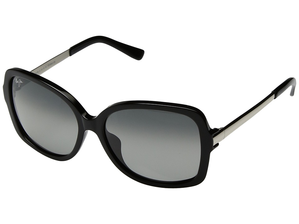 Maui Jim - Melika (Gloss Black/Silver Temples/Neutral Grey) Athletic Performance Sport Sunglasses