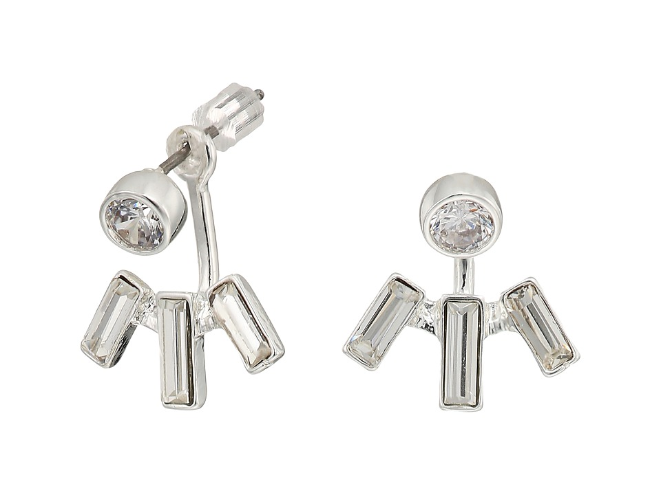 LAUREN Ralph Lauren - Baguette Front-Back Stone Earrings (Silver/Crystal) Earring