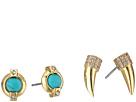 LAUREN Ralph Lauren Turquoise Stud and Pave Horn Duo Earrings
