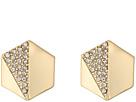 LAUREN Ralph Lauren Minimal Metal Gold and Pave Hexagon Stud Clip Earrings