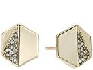 LAUREN Ralph Lauren Minimal Metal Gold and Pave Hexagon Stud Earrings