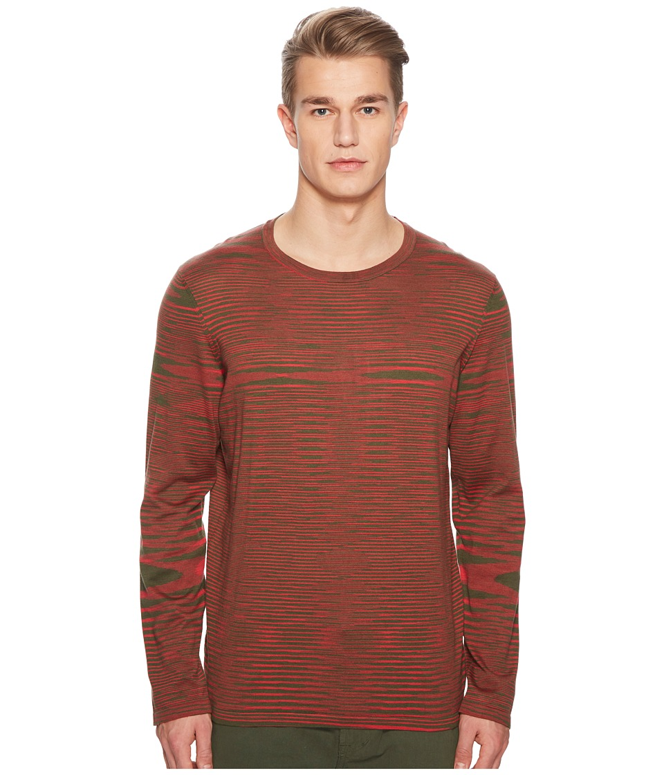 Missoni - Fiammato Pima Cotton Long Sleeve Sweater (Green/Red) Mens Sweater