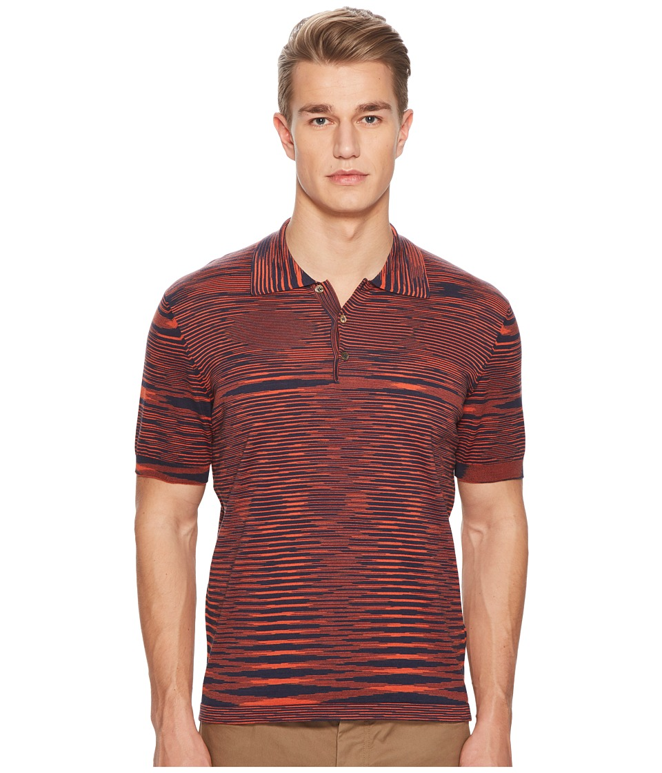 Missoni - Fiammato Pima Cotton Polo Sweater (Red/Navy) Mens Sweater