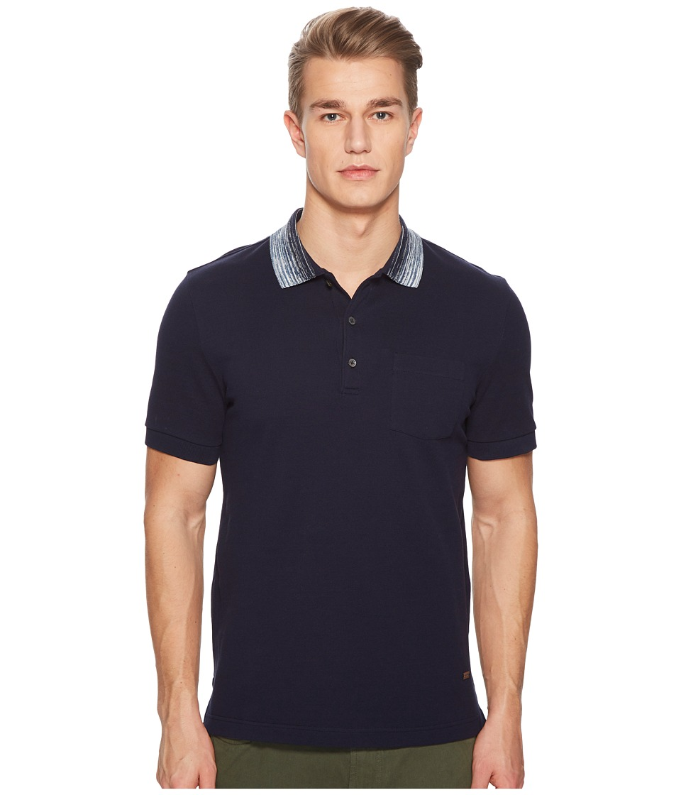 Missoni - Pique Polo with Contrast Collar (Navy) Mens Clothing