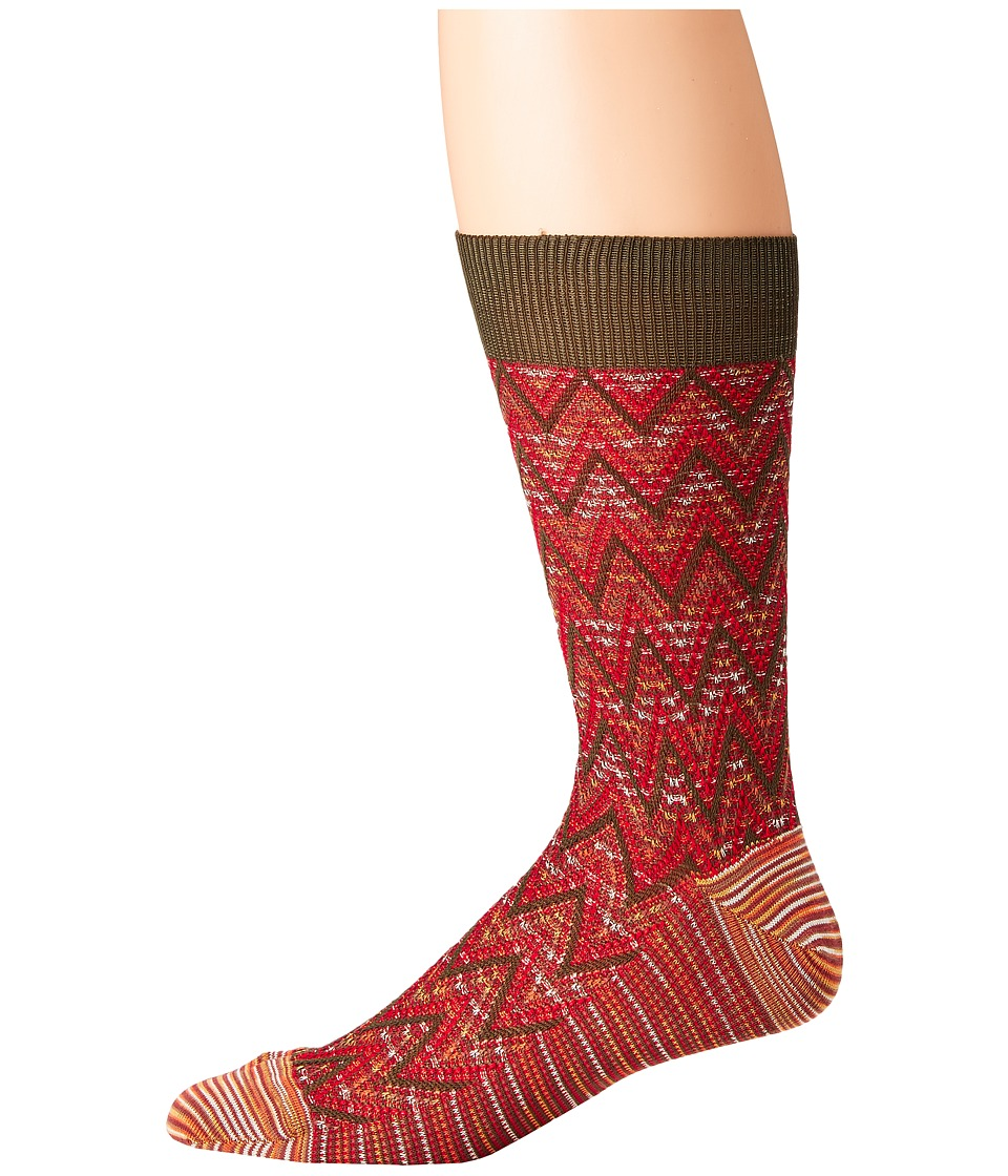 Missoni - Zigzag Socks (Green) Mens Crew Cut Socks Shoes