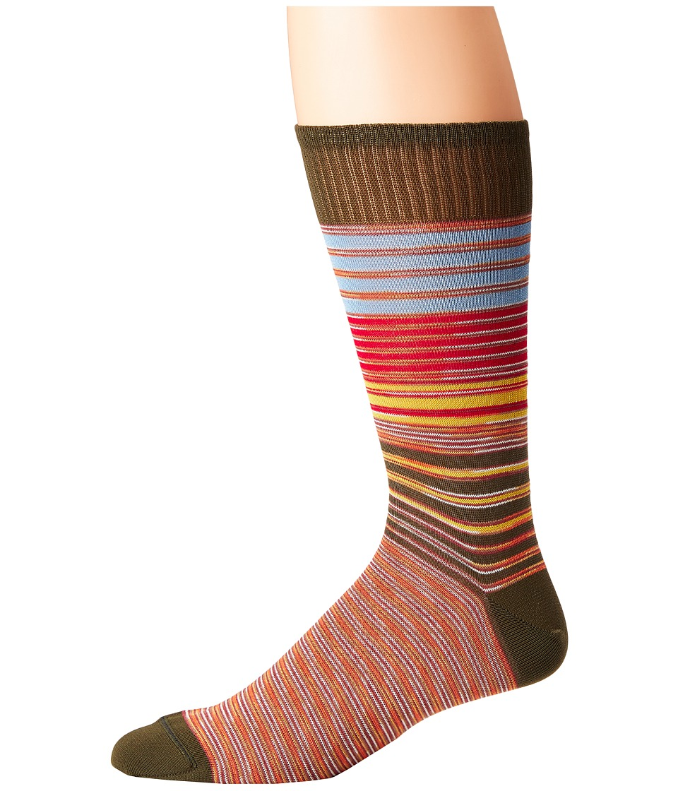 Missoni - Striped Socks (Green) Mens Crew Cut Socks Shoes