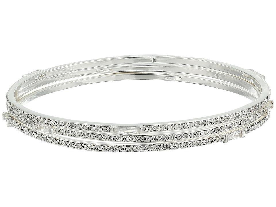 LAUREN Ralph Lauren - Set of 3 Bangles with Pave Baguettes Bracelets (Silver/Crystal) Bracelet