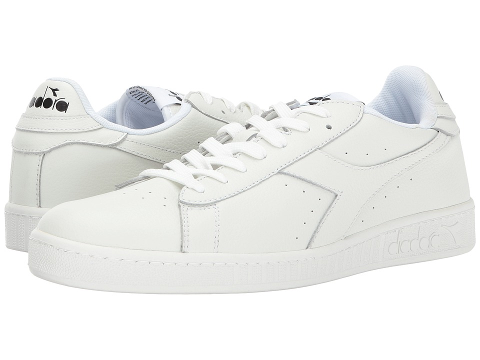 Diadora Game L Low Waxed (White/White/Black) Athletic Shoes