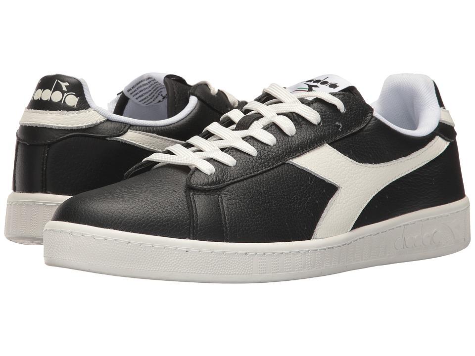 Diadora Game L Low Waxed (Black/White/Black) Athletic Shoes