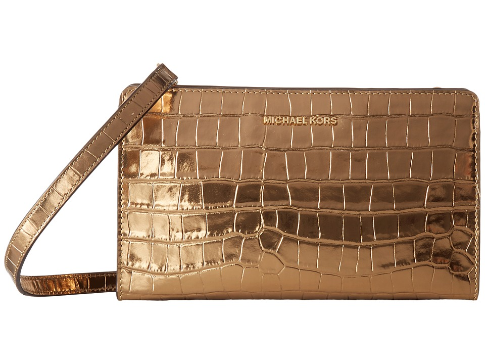 MICHAEL Michael Kors Large Crossbody Clutch (Gold) Clutch Handbags