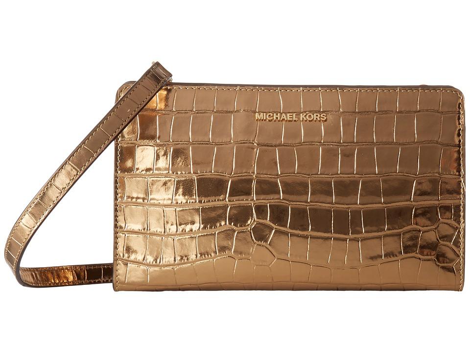 MICHAEL Michael Kors Large Crossbody Clutch (Gold) Clutch Handbags