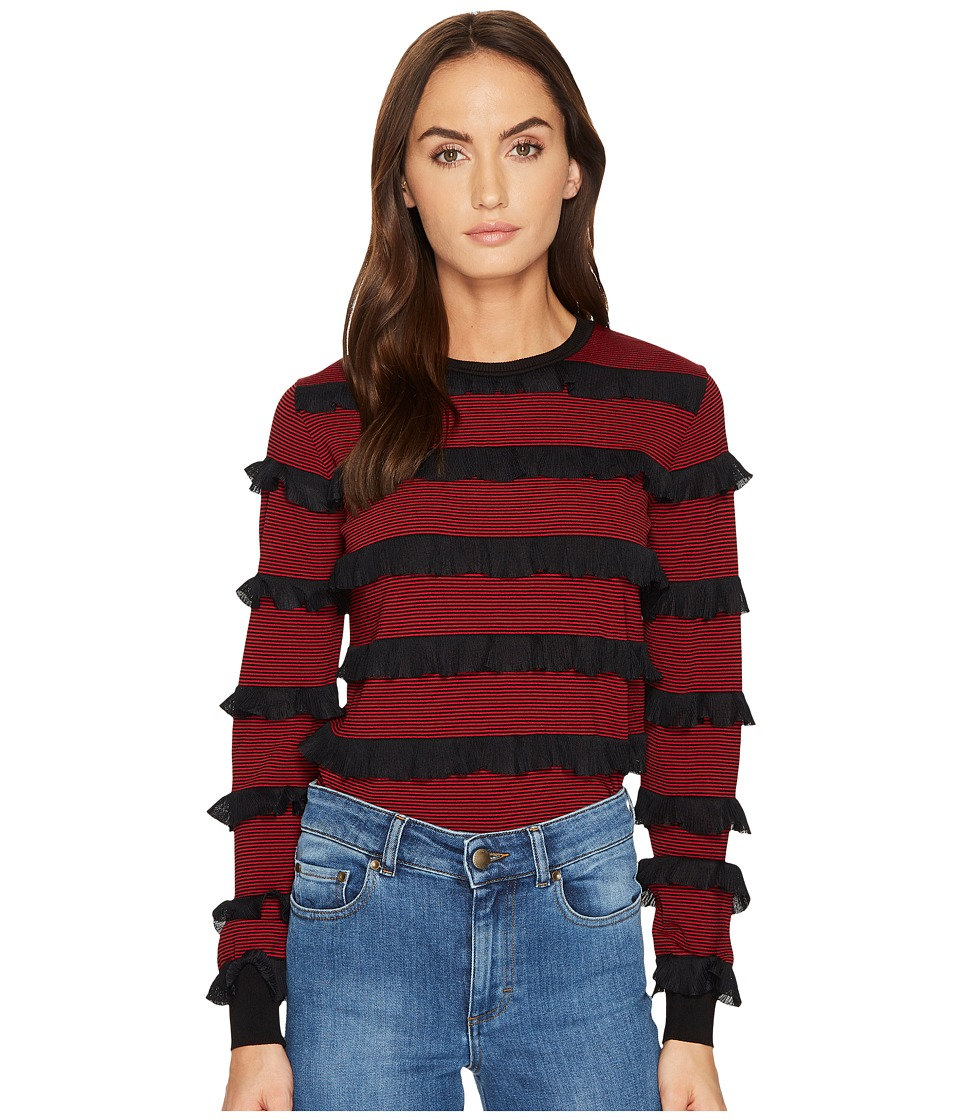 RED VALENTINO - Striped Stretch Viscose Rouches Top