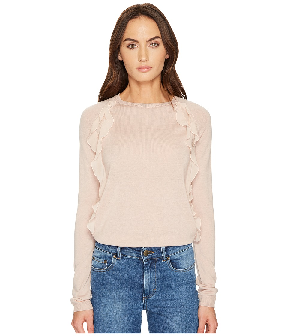 RED VALENTINO - Wool Yarn Fabric Rouches Top