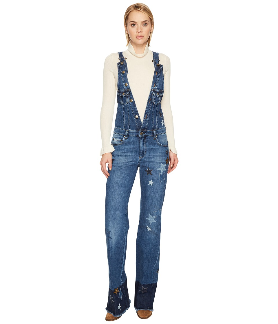 RED VALENTINO - Denim Stretch Stone Washed, Resist Dyeing Stars Patch Jumpsuit