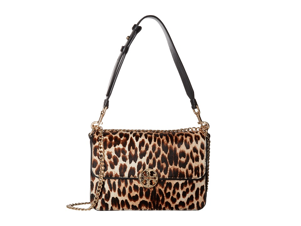 Tory Burch Chelsea Leopard Calf Hair Shoulder Bag (Natura...