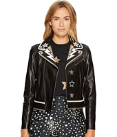 RED VALENTINO - Leather & Intarsia Coat