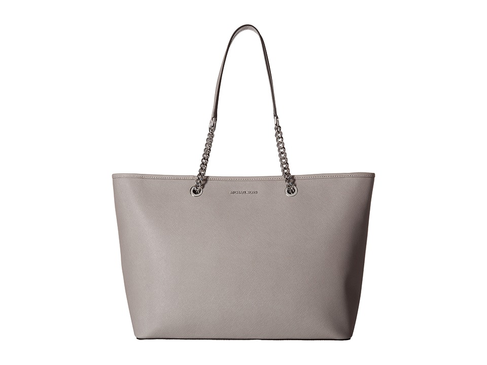 MICHAEL Michael Kors - Jet Set Travel Chain Medium Top Zip Multifunction Tote (Pearl Grey) Tote Handbags