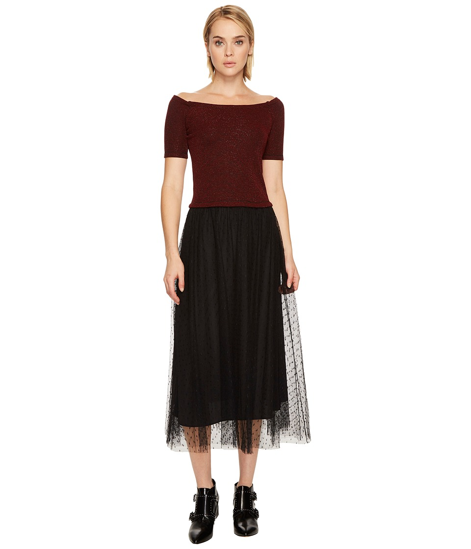 RED VALENTINO Striped Jersey Lurex Dress (Lacca/Nero) Women