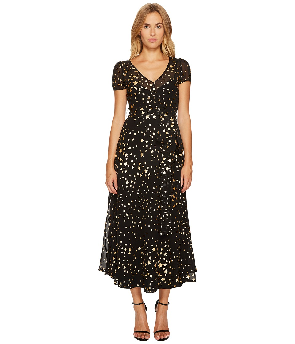 RED VALENTINO RED VALENTINO - Lame Stars Print, Silk Georgette Dress