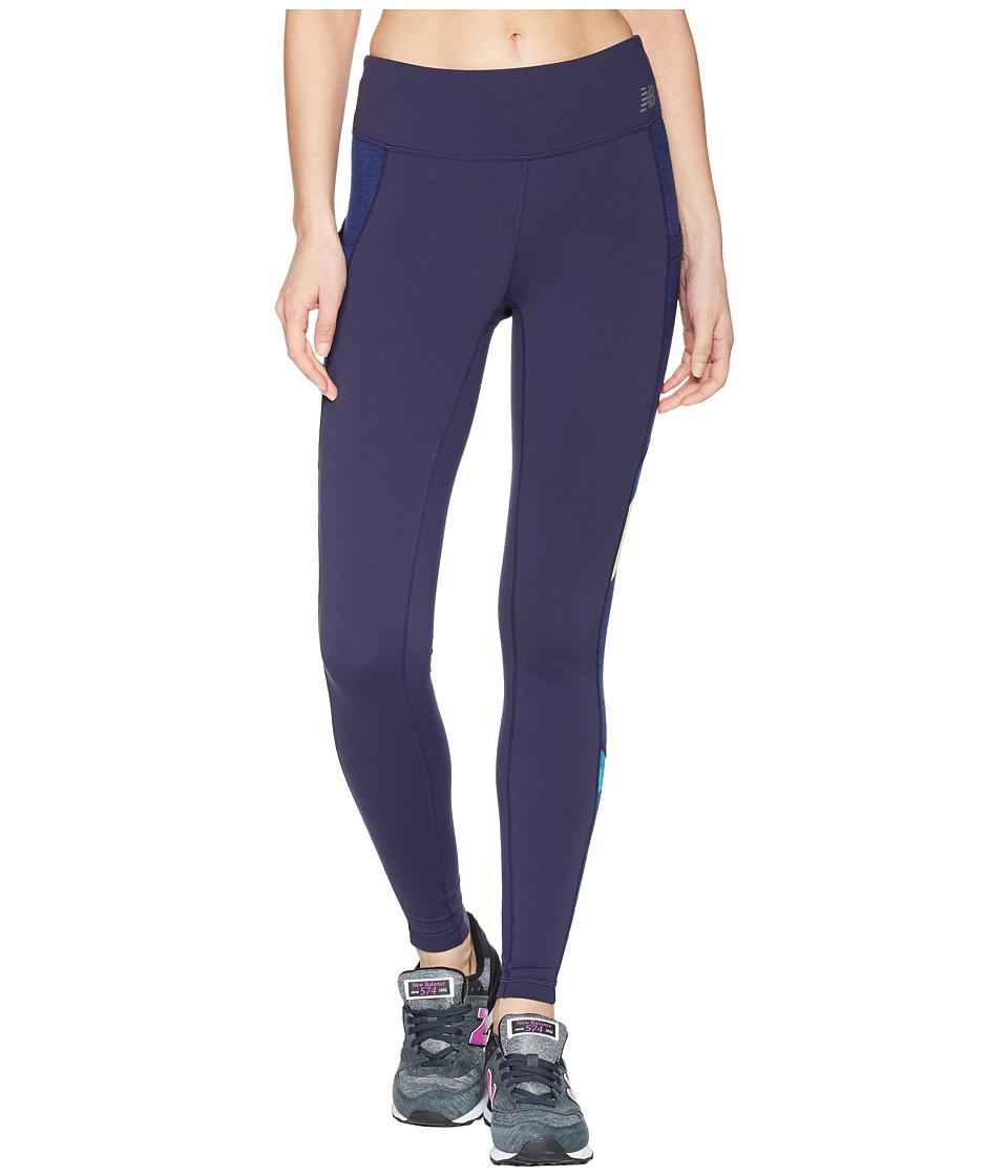 New Balance Premium Perf Fashion Tights (Blue Iris/Mind Motion Camo/Blue Iris Heather) Women