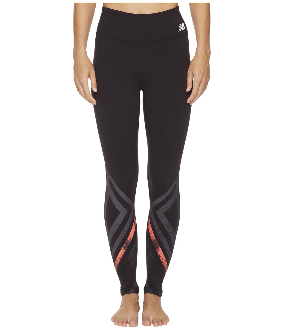 New Balance - High-Rise Tights Printed (Black Multi/Black/Vivid Coral) Womens Workout