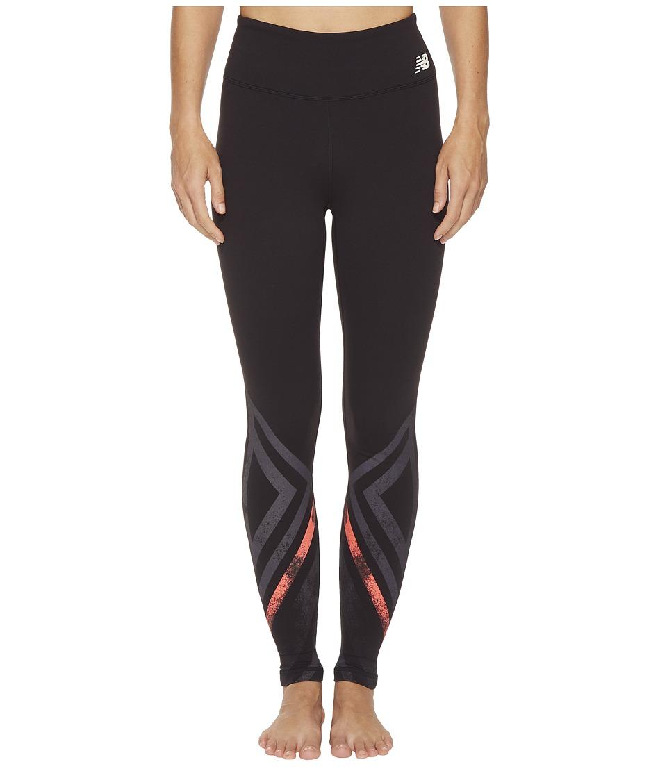 New Balance - High-Rise Tights Printed (Black Multi/Black/Vivid Coral) Womens Workout