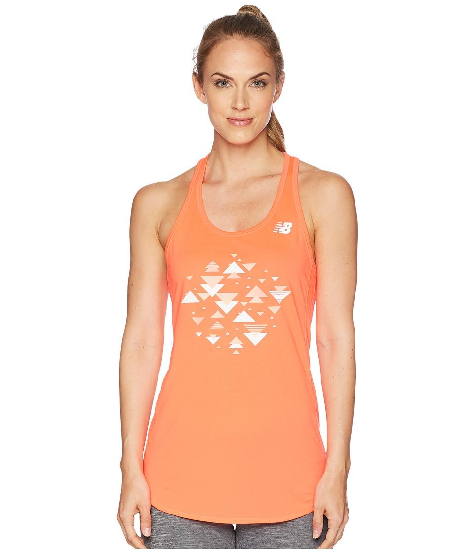 New Balance - Accelerate Tank Printed (Vivid Coral) Womens Sleeveless