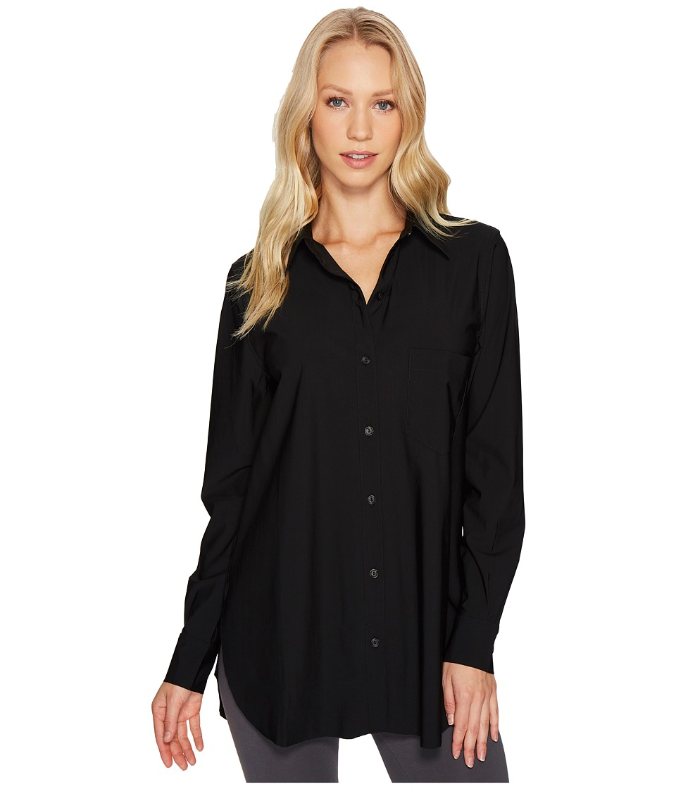 Lysse Schiffer Stretch Microfiber Button Down (Black) Women