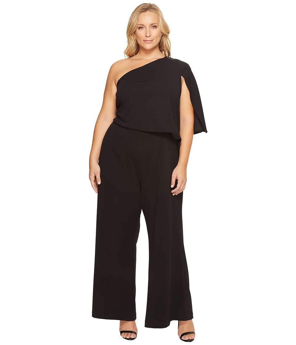 Adrianna Papell Adrianna Papell - Plus Size Knit Crepe One-Shoulder Jumpsuit