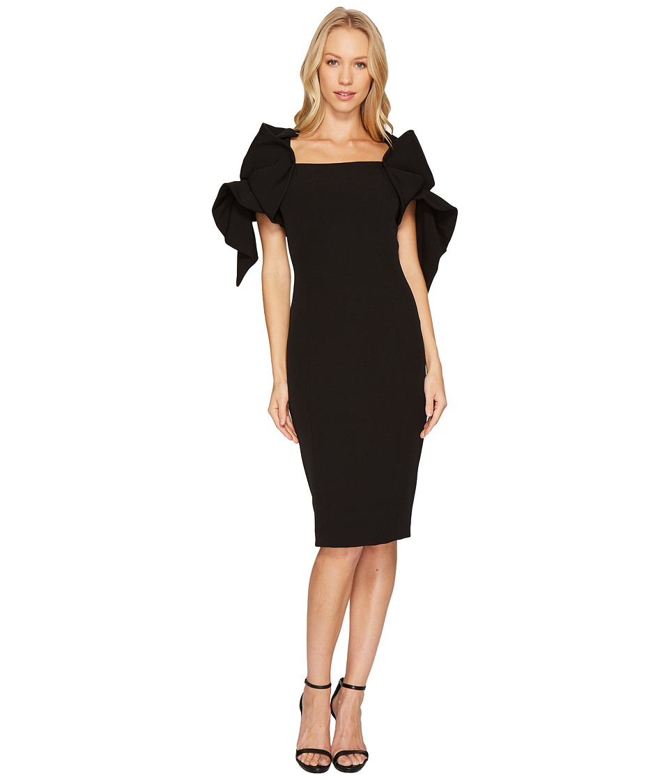 Badgley Mischka Origami Sleeve Dress (Black) Women