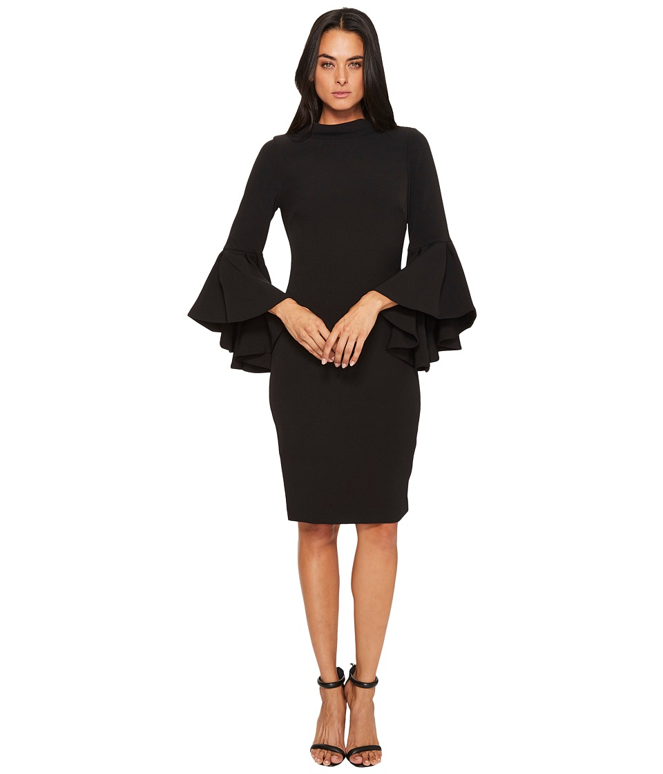 Badgley Mischka - Flare Sleeve Roll Collar Dress