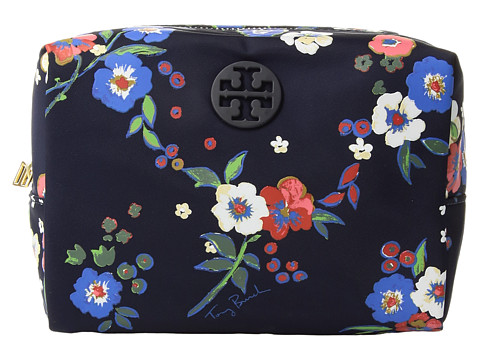 Tory Burch Quinn Floral Brigitte Cosmetic Case - Tory Navy