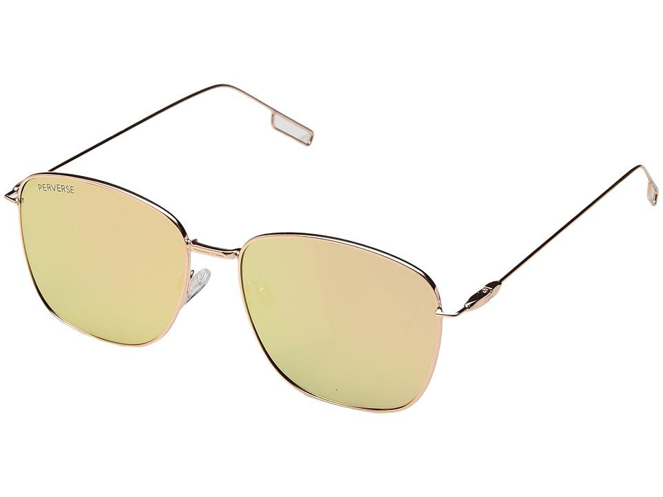 PERVERSE Sunglasses Em (Charming/Gold Metal/Pink Mirrored) Fashion Sunglasses