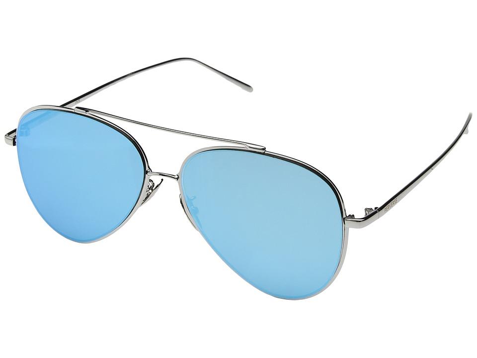 PERVERSE Sunglasses Tonibologni (Macaroni/Silver Metal/Aqua Blue Mirrored) Fashion Sunglasses
