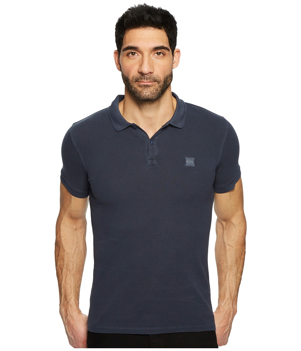 BOSS Orange - Prime Short Sleeve Acid Wash Polo (Navy) Mens Short Sleeve Pullover