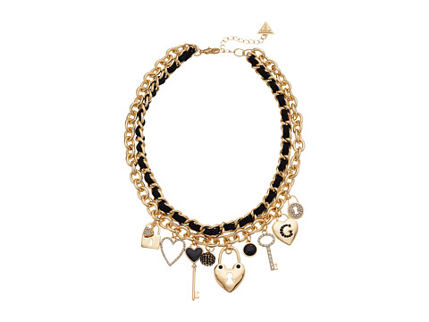 GUESS Two Row Chain Necklace, One Woven & One with Charms - Gold/Jet