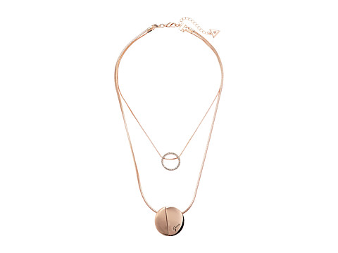 GUESS Two Row Necklace with Disc Pendants - Rose Gold/Matte Gold