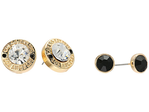 GUESS Stud and Logo Button Stud Set - Gold/Jet