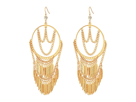 GUESS Hoop Earrings with Draped Chain and Drops - Gold/Crystal