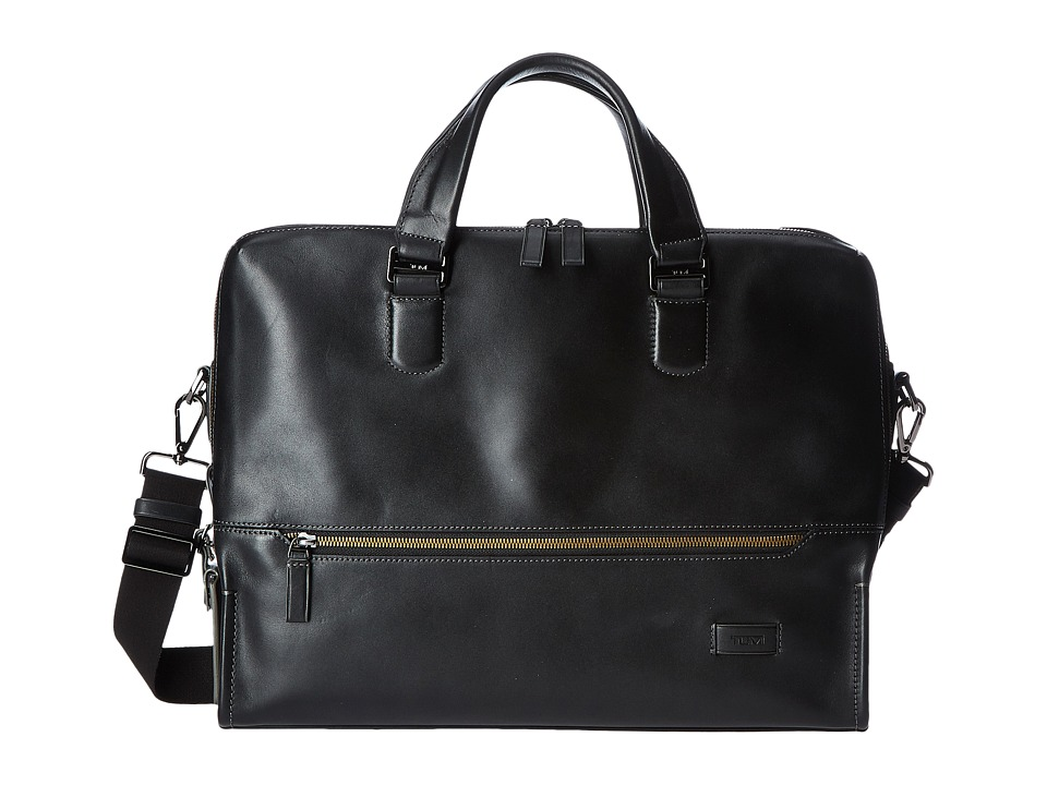 Tumi Harrison Horton Double Zip Brief (Black) Briefcase Bags