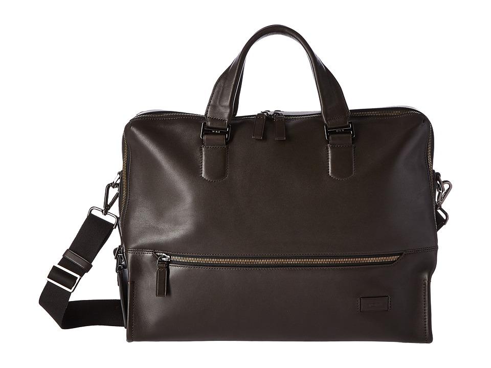 Tumi Harrison Horton Double Zip Brief (Brown) Briefcase Bags