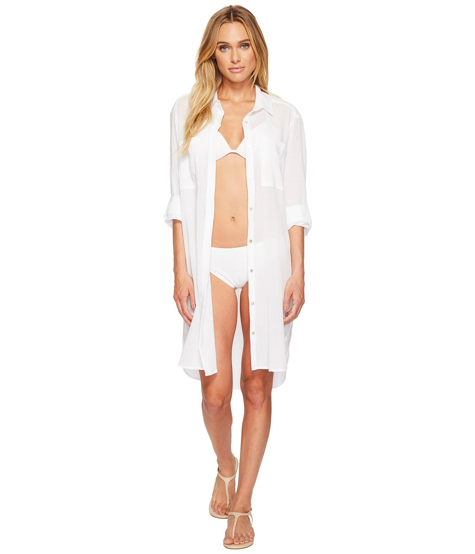 Seafolly Crinkle Twill Beach Shirt (White)