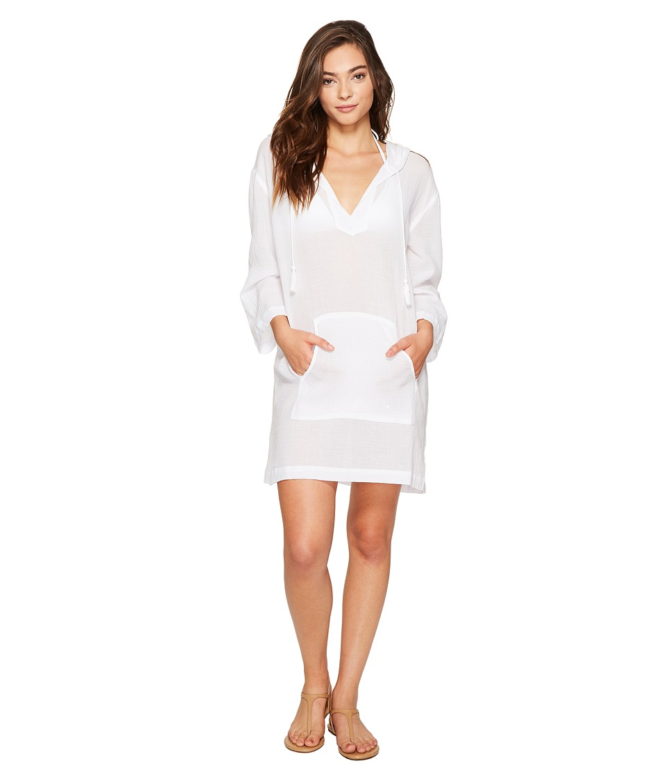 Seafolly Hooded Crinkle Twill Cover-Up (White) Women