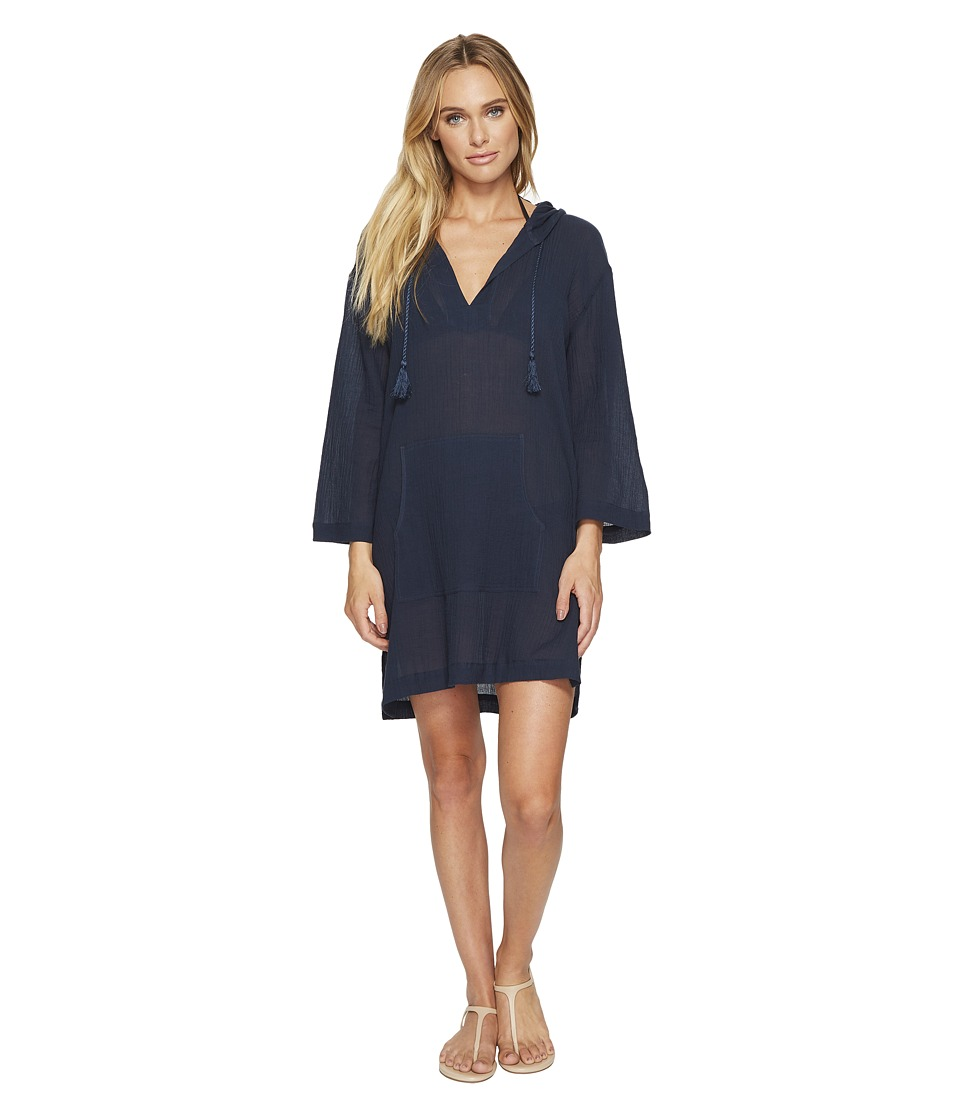 Seafolly Hooded Crinkle Twill Cover-Up (Indigo) Women